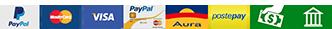 Metodi di pagamento accettati: PayPal, Carte di Credito Maestro Visa PayPal Aura Postepay, Contrassegno, Bonifico Bancario
